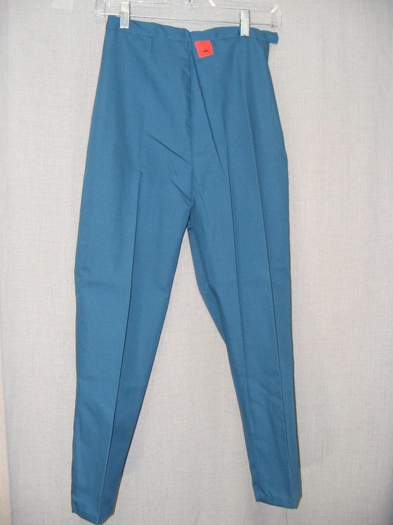 8da40e32c65b 1960s Vintage Slacks Straight Legs Teal Tapered Leg Pants