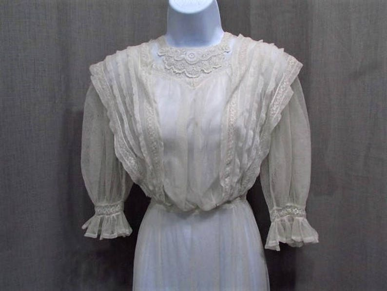 69288fa20a5dbd Victorian Dress C.1900 Net Lace Summer Dress Vintage Victorian