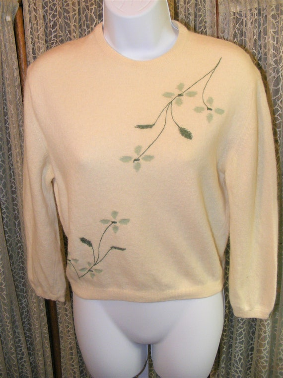 1950s Lambs Wool Sweater 50s Soc Hop Cream Green L
