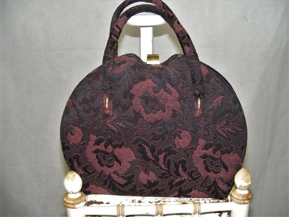 1950s Tapestry Handbag Black & Plum Floral Purse P