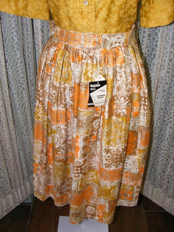 1950s Cotton Skirt Deadstock Gold Orange Print 50s