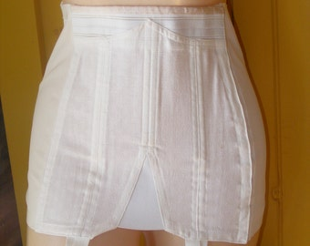 1950s Vintage Girdle Rengo Style 733 Size 30 Full Support OBG Girdle Lingerie White Cotton and Elastic Stocking Garters Med