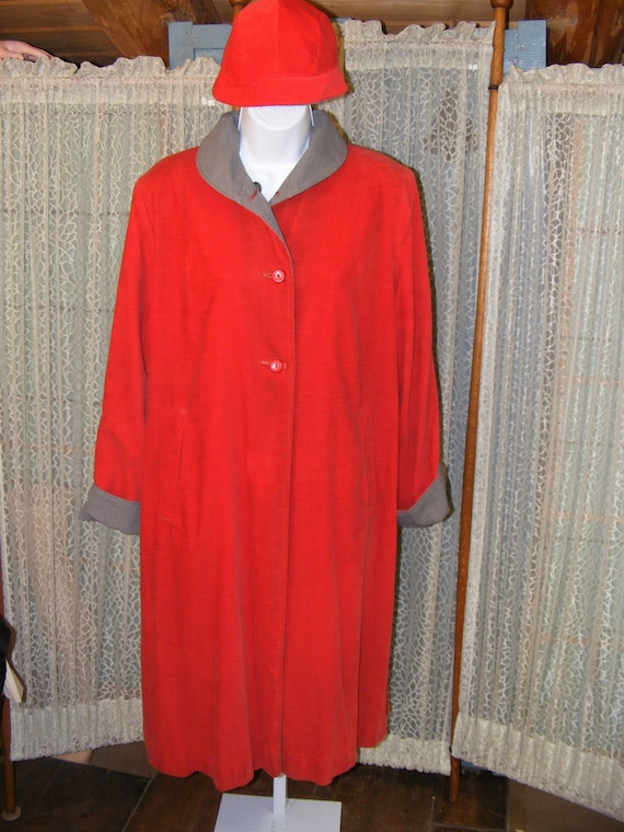 1940s Swing Coat Matching Hat Reversible Orange Co