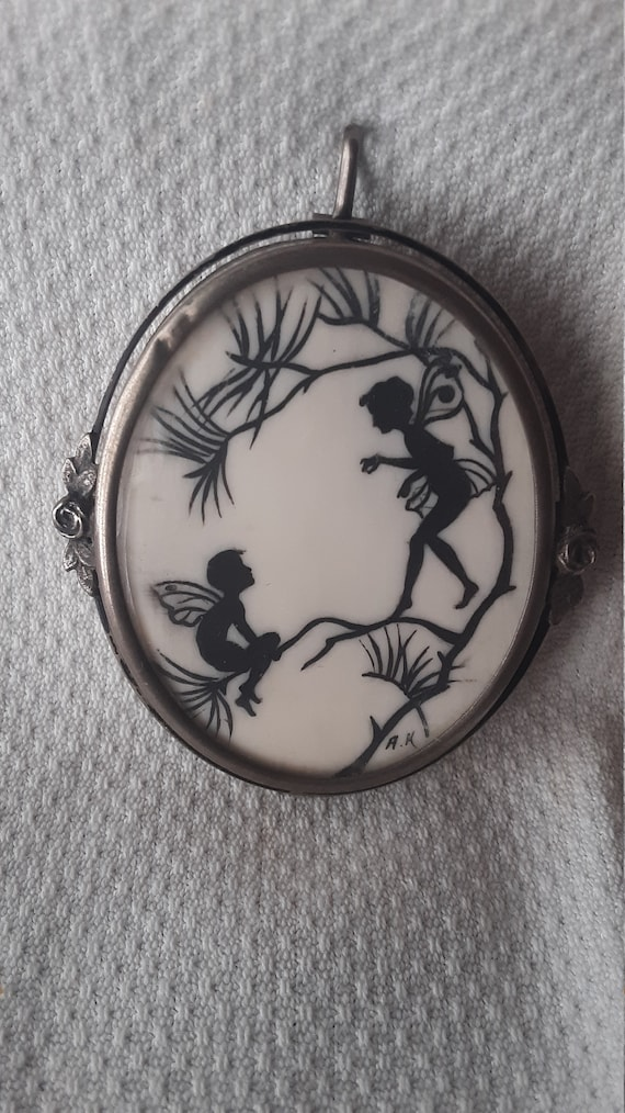 Edwardian Fairies Pixies Brooch Pendant AK 800 Sil