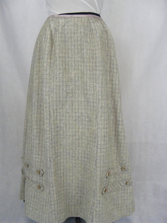 1880s Victorian Wool Skirt Sage Green Plaid Winter