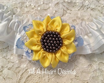 Sunflower Wedding Garter set, White with handmade yellow satin Sunflower, Lace, and Pearls