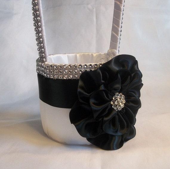 Black white flower girl basket with rhinestone mesh handle etsy image 0 mightylinksfo