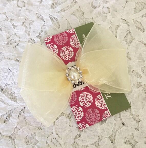 Noeud de cheveux Organza Ivoire avec strass & perle Centre, Sparkle Flower Girl Hair Bow, arc de cheveux de bébé, Ivoire Hair Bow, Hair Pageant bow