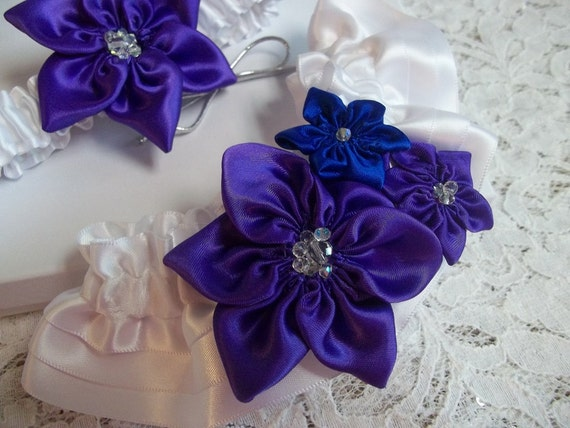Royal Purple and Royal Blue Wedding Garter Set Star Flowers | Etsy
