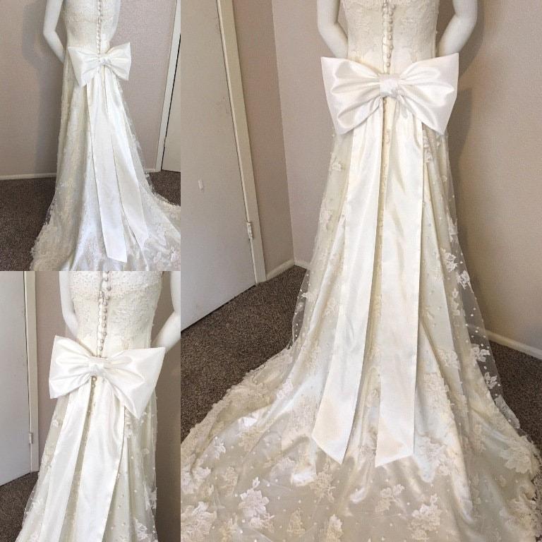 Large Bow Wedding Dress Sash Big Bow Wedding Gown Sash