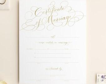 marriage certificate wedding certificate gold