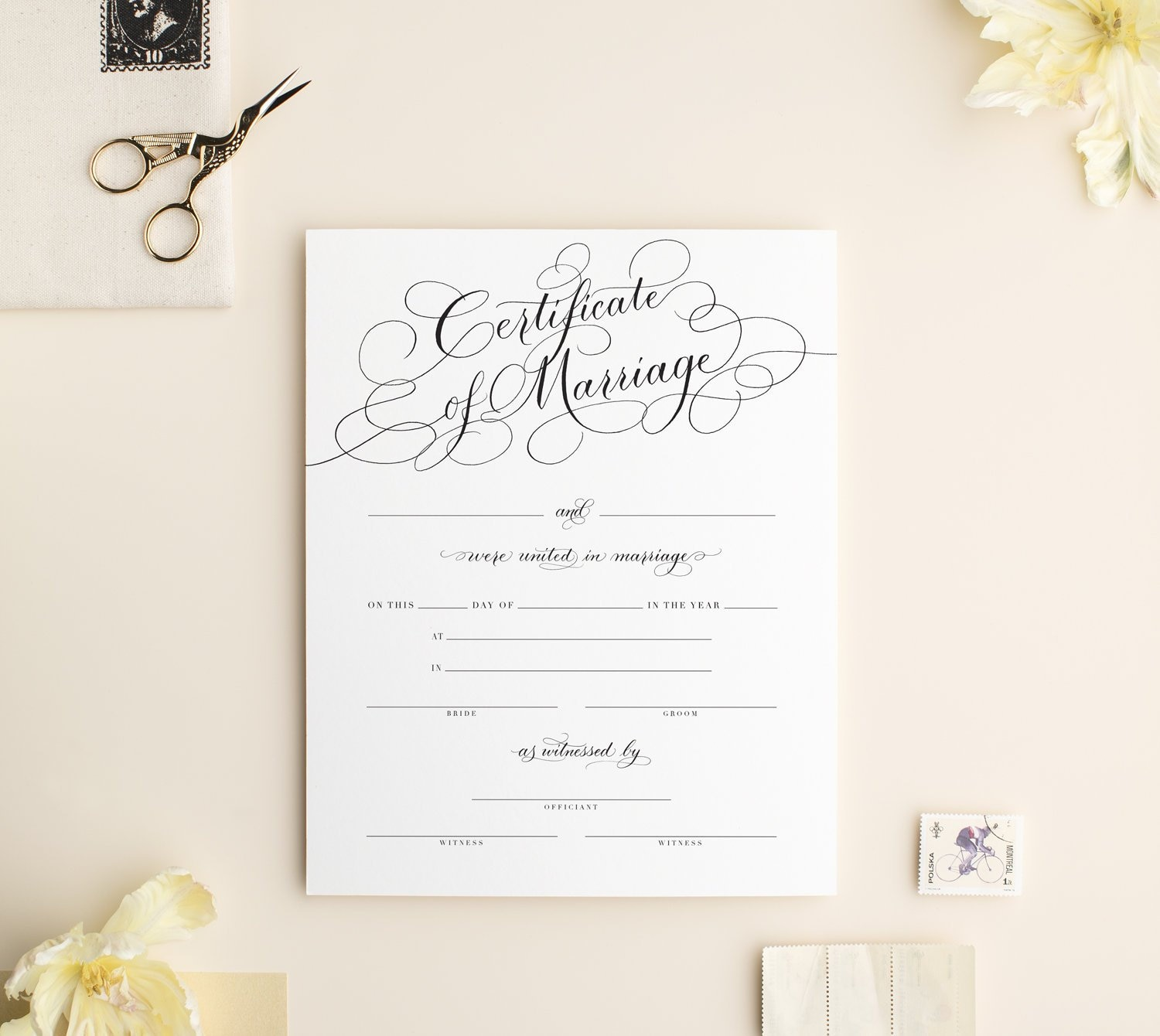 Marriage Certificate Wedding Certificate Black Etsy