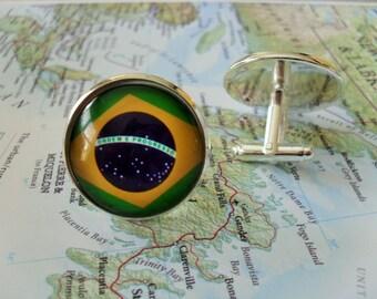 Brazil Map Shape and Flag Design Cufflinks