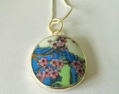 Antique Chinese POTTERY SHARD Pendant Necklace Floral Tree Design Recycled Porcelain Broken China pendant unique gift Gift Boxed