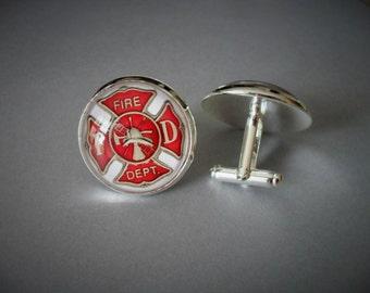 fireman Cufflinks Firefighter fireman Cufflinks Cufflink Fire Dept Cufflinks husband friend gift gift for fireman Fireman Gift