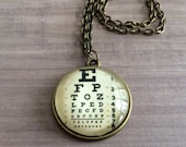EYE CHART Pendant Necklace Eye Sight Testing Chart Gift for Her Gift For Ophthalmologist Optometrist Optician Gift Boxed