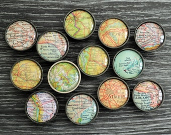 Custom MAP CABINET KNOB / Map Drawer Pull / Glass domed nickel or bronze finish map knob / any Location / personalized map / housewarming