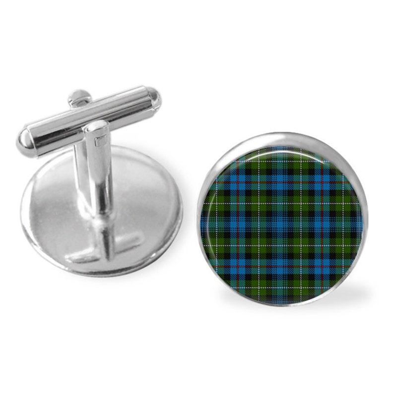 MACKENZIE TARTAN CUFFLINKS  Scottish Tartan Cuff Links  Tartan Jewelry  Personalized Gift for Him  Ancestral Jewelry  MacKenzie Clan