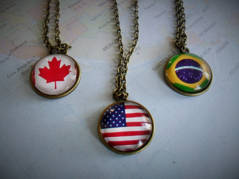 CUSTOM FLAG NECKLACE  Smaller Pendant Style   Any Country  Patriotic Gift  Antique Bronze  unique gift  gift boxed