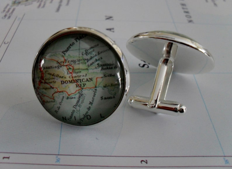 DOMINICAN REPUBLIC Map Silver CUFFLINKS  Father/'s Day  Groomsmen Gift  Gift for Him  Map Cuff Links  Map jewelry  Gift boxed