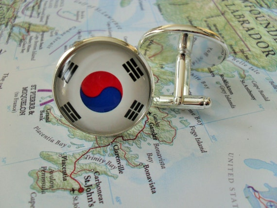 South Korea Flag Cufflinks Personalised Engraved Keepsake Box