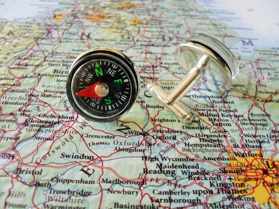 Working Compass 3D Cufflinks Hikers walkers orienteering quality gentlemans gift