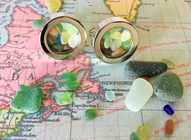 SEA GLASS CUFFLINKS  Genuine Sea Glass Filled Cuff Links  Beachcomber Gift  Ocean Lover Gift  Nautical Cufflinks  Gift Boxed