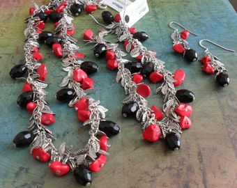 DRAMATIC Coral and Black French Jet  Crystal Leafy NECKLACE , Bracelet & Earrings SET / Statement Necklace / Matching Set / Gift for Her
