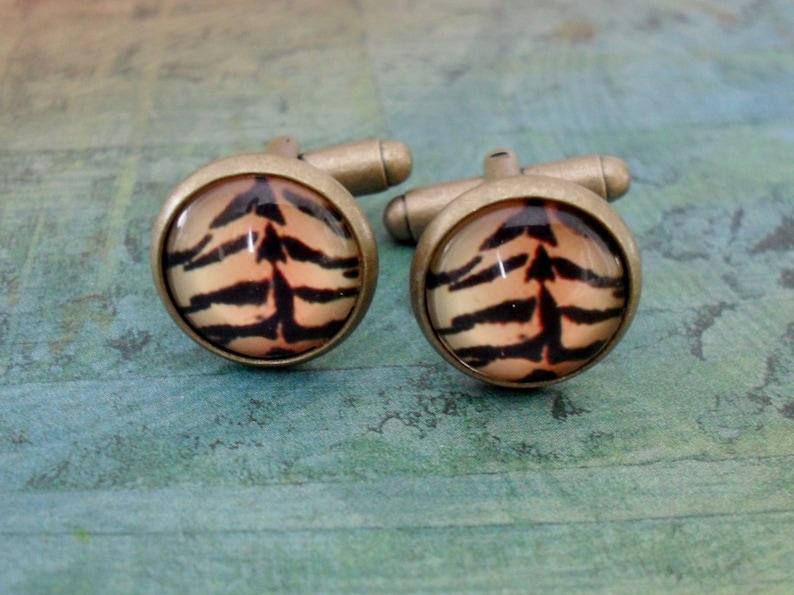 Exotic Tiger Print Antique Bronze Cufflinks  Unisex  Cuff Links  Gift Boxed