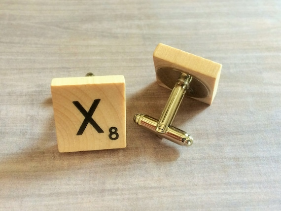 WOODEN SCRABBLE INITIAL CUFFLINKS ALL INITIALS AVAILABLE GIFT BAG FREE P/&P