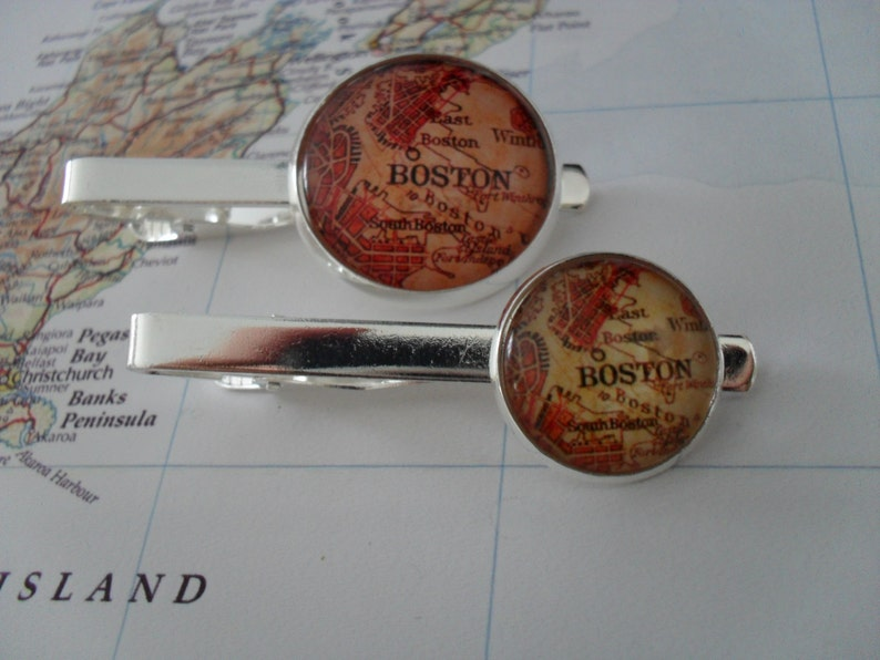 VINTAGE BOSTON MAP Tie Bar  Groomsmen Gift  Gift for Him  Custom Map Tie Bar  2 Sizes  Tie Clip  Tie Clasp  Tie Slide  Silver