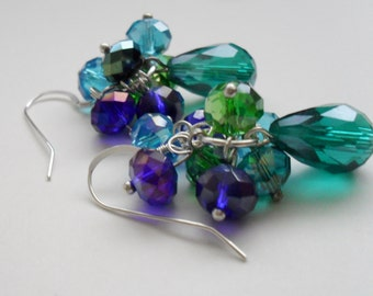 Beautiful Blues & Greens Cascading Crystal Earrings // Sterling Silver // Gift Boxed