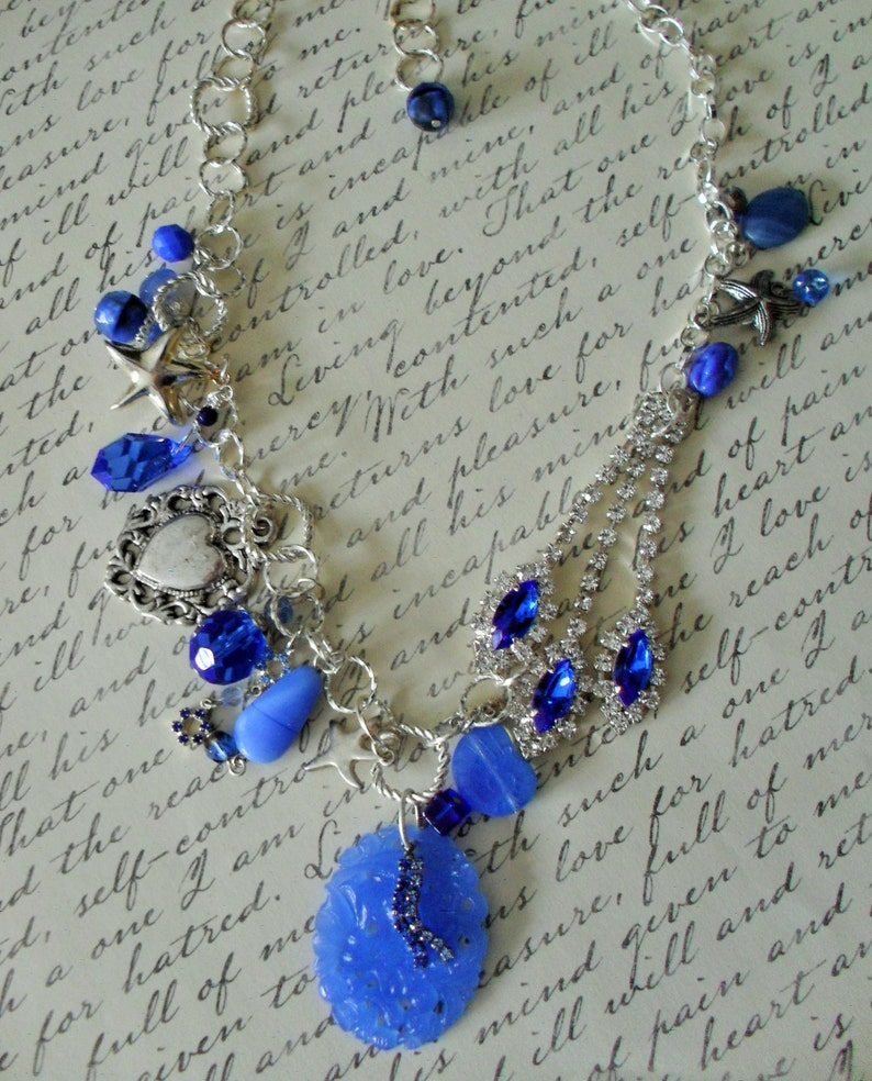 Something BLUE NECKLACE SET   Statement Necklace  Starfish  Reworked Vintage  Upcycled  One of a kind  Bib Necklace  Beach Wedding