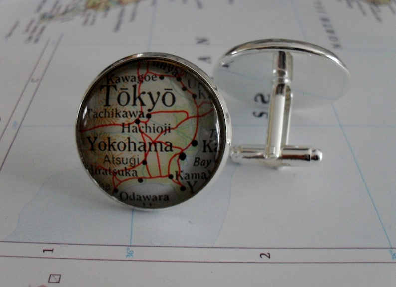 TOKYO Japan Map CUFF LINKS  Father/'s Day  Tokyo cufflinks  Groomsmen Gift  Personalized Gift for Him  map jewelry  Gift Boxed