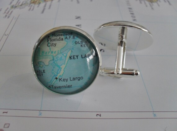 Key Largo Florida Map.Key Largo Florida Map Silver Cuff Links Father S Day