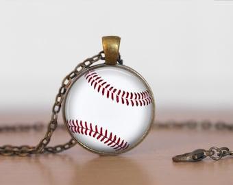 BASEBALL Pendant Necklace / Baseball Player Gift  / Sports Gift for Her / Baseball Fan Gift / Gift for Coach / Antique Brass  / Gift Boxed