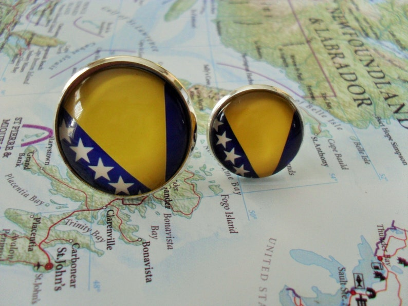 BOSNIA /& HERZEGOVINA Flag Silver Cufflinks  Bosnian Flag Cuff Links  Groomsmen Gift  Patriotic gift for him  National flag cufflinks
