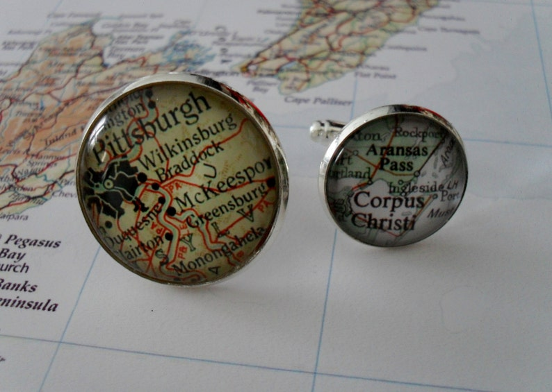 Custom Map Cufflinks  Groomsmen Gift  You Pick the Location  Silver map cufflinks  Vintage map Cuff Links  Personalized gift Gift boxed