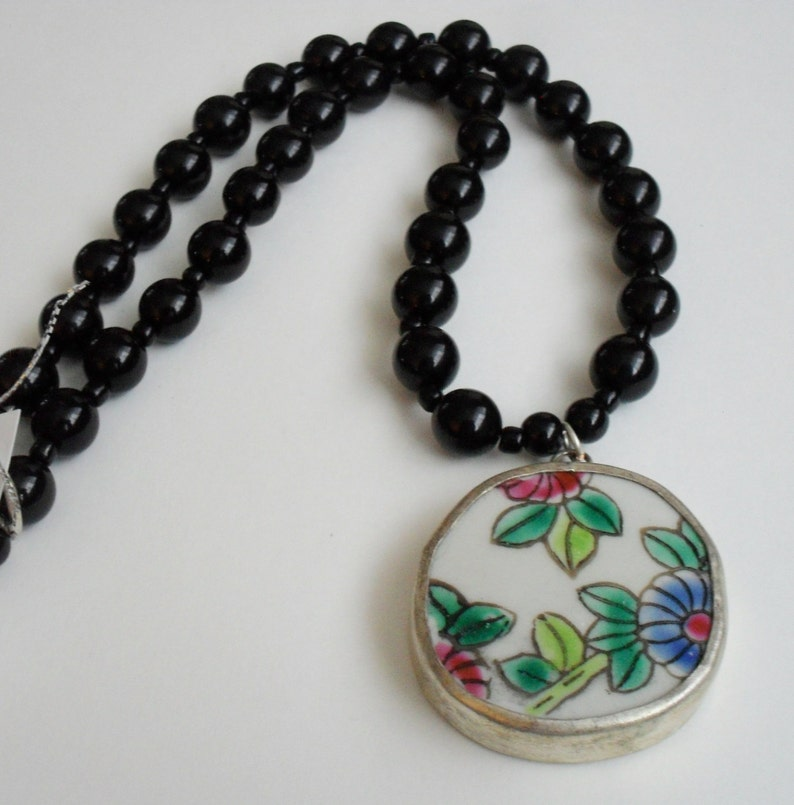 Ming  Dynasty Antique Pastel Floral POTTERY SHARD PENDANT Beaded Necklace  Black Onyx Beads  Ceramic Pendant  Gift Boxed  Unique