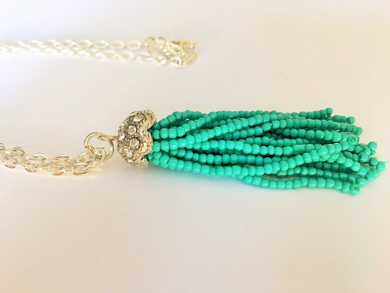 Turquoise Seed Bead /& Rhinestone TASSEL NECKLACE  Silver  Fidget Jewelry  Trendy Necklace  Gift Boxed