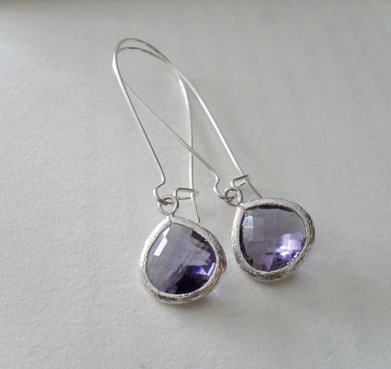 a682fe464ee71 TANZANITE PURPLE Drop EARRINGS // Faceted Glass // Silver // Dangle //  Bridesmaid // Bridal // Simple // Gift Boxed