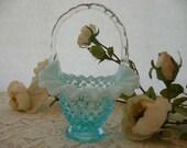 Collectible Vintage Fenton Blue Hobnail Glass Bride 39 s Basket Unsigned