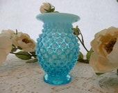 Collectible Vintage Fenton Blue Hobnail Glass Vase Unsigned
