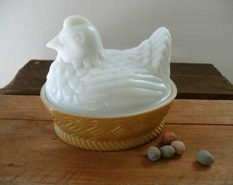 Sweet Vintage Avon Milkglass Chicken On Nest Dish From 1970's