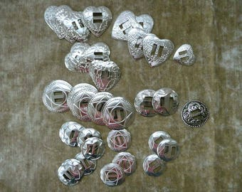 Lot Of 38 Mixed Style and Size Silver-Toned Conchos