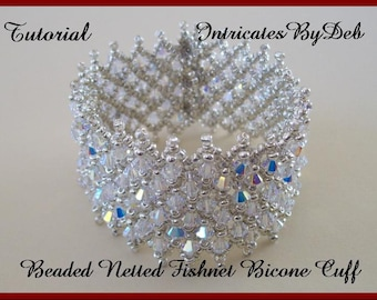 Tutorial Bead Netting Crystal Bicone Cuff Bracelet - Jewelry Beading Pattern, Beadweaving Instructions, PDF, Do It Yourself, How To