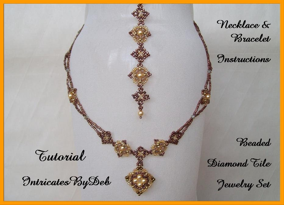 Tutorial Beaded Diamond Tile Jewelry With Pearls And Bicones Etsy