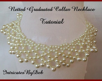 Tutorial Bead Netting Graduated Collar Necklace with Pearls - Beading Pattern, Beadweaving Instructions, Download, PDF, Do It Yourself