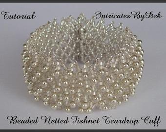Tutorial Bead Netting Fishnet Teardrop Cuff Bracelet - Jewelry Beading Pattern, Beadweaving Instructions, PDF, Do It Yourself, How To