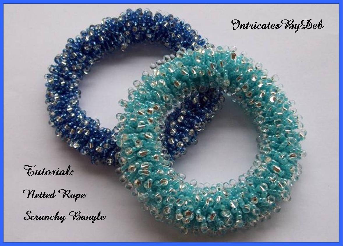 bfef2652896 Tutorial Beaded Netted Rope Scrunchy Bangle Bracelet Jewelry | Etsy